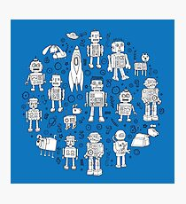 Robot Pattern - white on blue Photographic Print