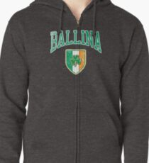 Ballina, Ireland with Shamrock Zipped Hoodie