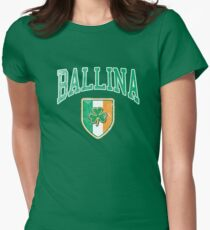 Ballina, Ireland with Shamrock Womens Fitted T-Shirt