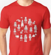 Robot Pattern - pink & white T-Shirt