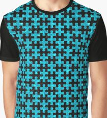 PUZZLE1 BLACK MARBLE AND TURQUOISE MARBLE Graphic T-Shirt