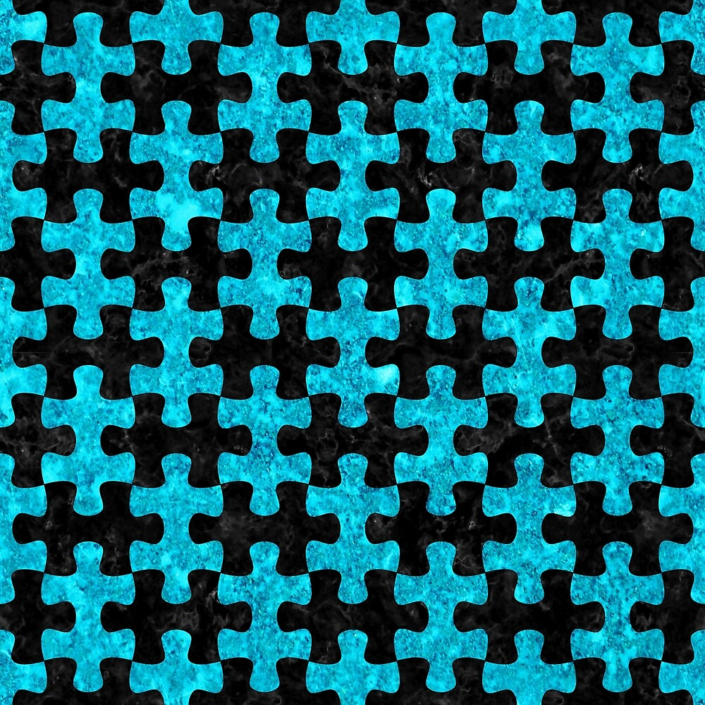 PUZZLE1 BLACK MARBLE AND TURQUOISE MARBLE by johnhunternance