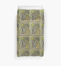 Temple carving twisted birds Duvet Cover
