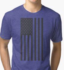 American Flag, Gray, Vertical Cut Out Tri-blend T-Shirt