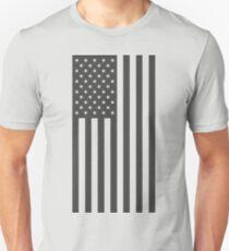 American Flag, Gray, Vertical Cut Out Unisex T-Shirt