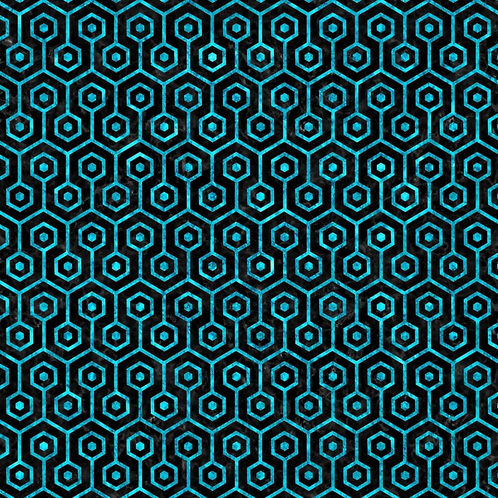 HEXAGON1 BLACK MARBLE AND TURQUOISE MARBLE by johnhunternance