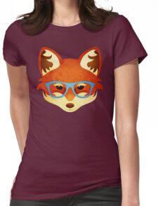 Hipster Fox Womens Fitted T-Shirt
