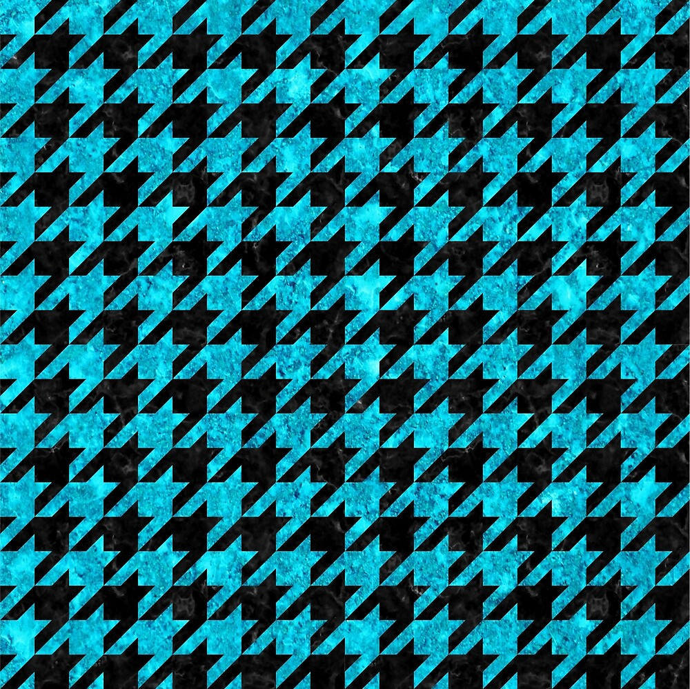 HOUNDSTOOTH1 BLACK MARBLE AND TURQUOISE MARBLE by johnhunternance