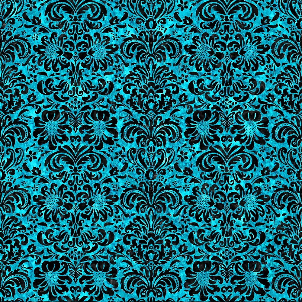 DAMASK2 BLACK MARBLE AND TURQUOISE MARBLE (R) by johnhunternance
