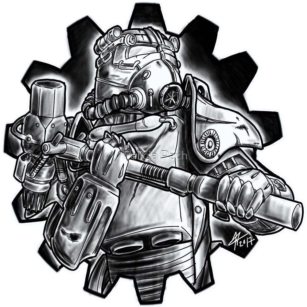 Power armour - black and white by Felicia Pach