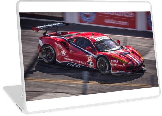 Ferrari 458 Gt3 Race Car Long Beach Grand Prix Laptop Skin By Hnatautomotive