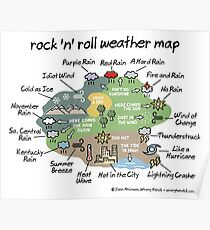 rock 'n' roll weather map Poster