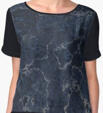 Dark Blue marble with White Artery Chiffon Top