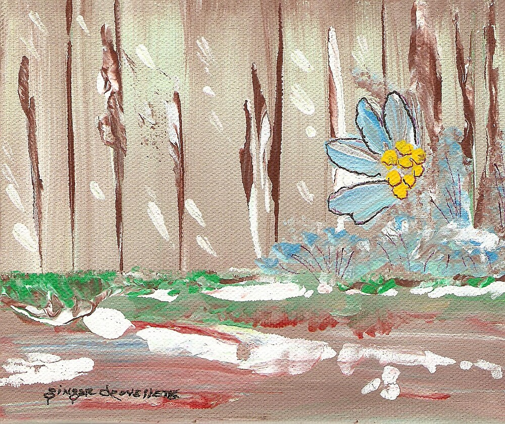 Flowers at the Fence by Ginger Lovellette