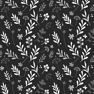 Floral Pattern 1 - Black Background by pauladolz