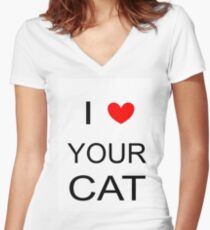 I love your cat txt Women's Fitted V-Neck T-Shirt