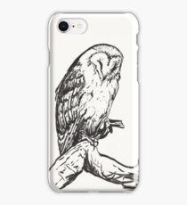 Sleeping Barn Owl Brush Pen Drawing iPhone Case/Skin