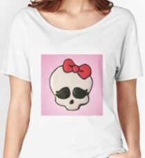Cute Skull with Red Bow Women's Relaxed Fit T-Shirt