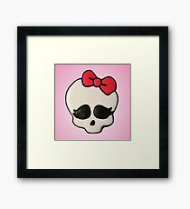 Cute Skull with Red Bow Framed Print