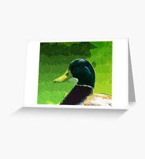 Male Mallard Duck Abstract Impressionism Greeting Card