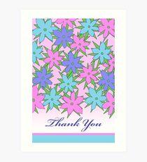 Thank You, Floral Botanical Design in Pastel Colors Art Print