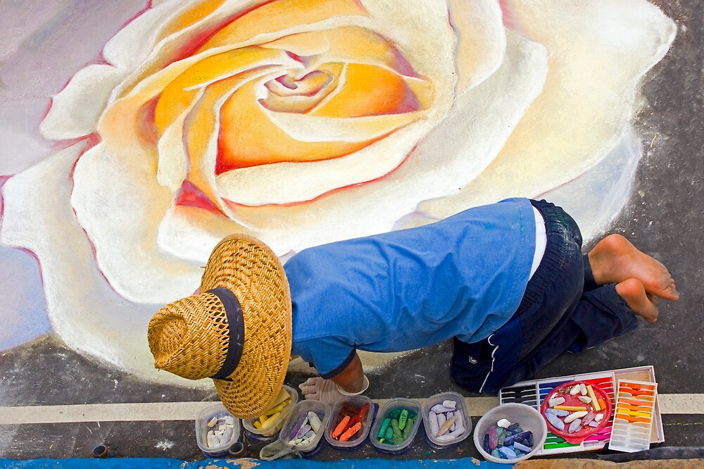 Imadonnari Italian street painting festival.  Santa Barbara, California by Eyal Nahmias