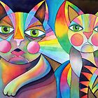 Tubby Cat and friend by Karin Zeller