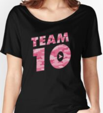 Team 10 Pink Camo: Jake Paul  Women's Relaxed Fit T-Shirt