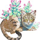 Cat and Succulents by Cirse Sabino