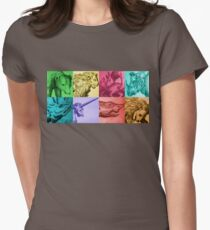Animals engraving color patchwork Womens Fitted T-Shirt