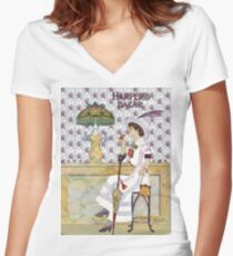 Lady Sips Cola at Tiffany's Glass Soda Fountain Women's Fitted V-Neck T-Shirt