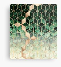 Leaves And Cubes Metal Print