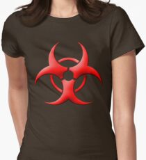 New Biohazard Symbol (Red) Womens Fitted T-Shirt