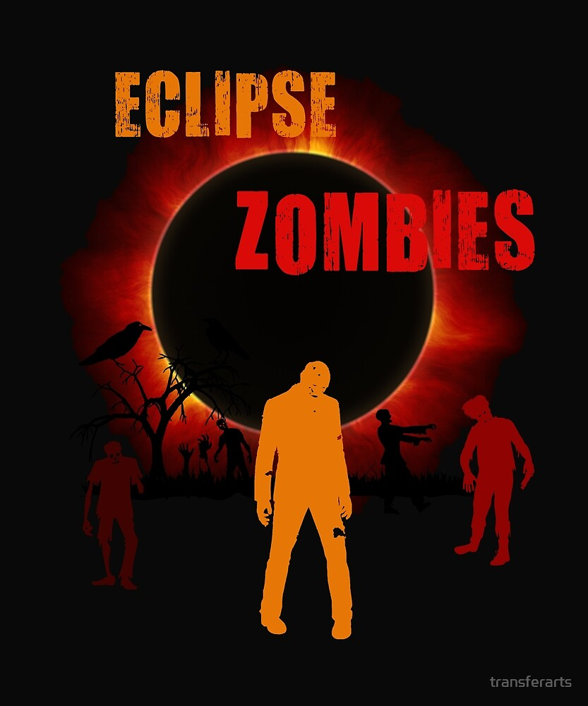 Total Solar Eclipse Scary Zombie Apocalypse Creepy T-shirt by transferarts