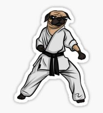 Karate Pug Art Design Sticker