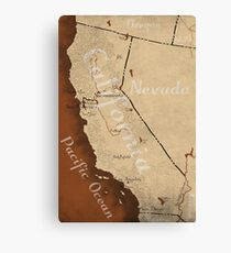 California Fantasy Map Canvas Print