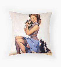 Gil Elvgren pin up with Puppies! Throw Pillow