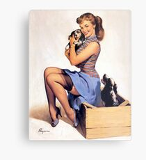 Gil Elvgren pin up with Puppies! Metal Print