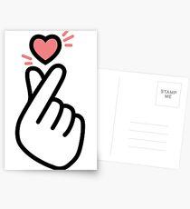 Korean Heart Fingers Shirt Finger Heart Sign Postcards