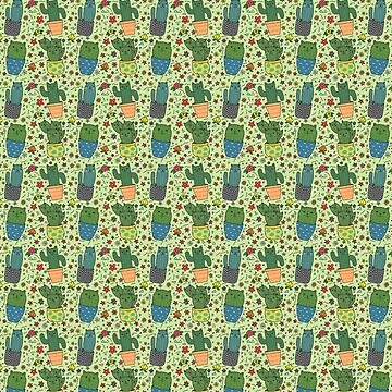 South Western Cactus Cats Pattern by TurtlesSoup