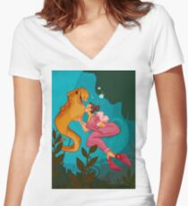 A Girl and her Eel Women's Fitted V-Neck T-Shirt
