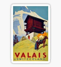 Vintage Travel Poster – Valais, Switzerland Sticker