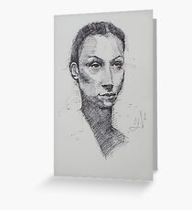 Creatingwong Female Face Sketch Greeting Card
