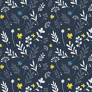 Floral Pattern 1 - Blue Background by pauladolz
