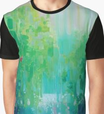 Scarlet's Green World - green semi abstract landscape with red bird Graphic T-Shirt