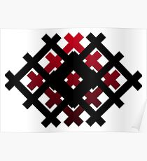 The geometric pattern, black and red Poster