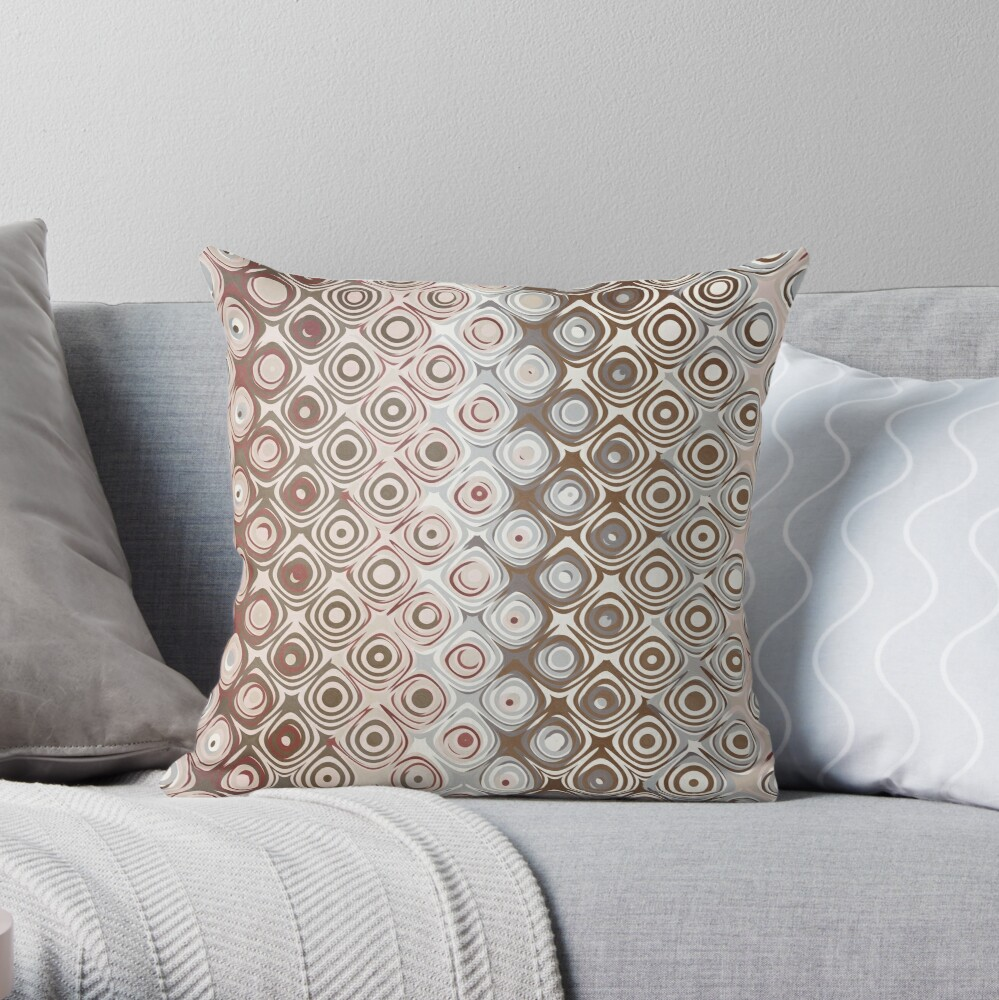 Brown And Beige Pattern Throw Pillow