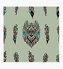 Seamless pattern with wolf  Photographic Print