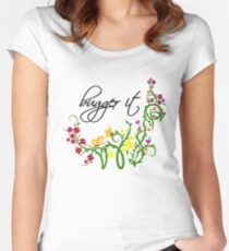 Bugger It Swearing Floral Women's Fitted Scoop T-Shirt