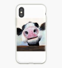 NOSEY COW 'HEY! HOW'S IT GOIN'?' BY SHIRLEY MACARTHUR iPhone Case